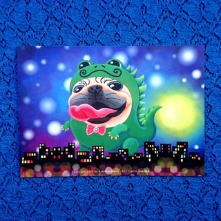 Postcard- Monster Pugzilla Night