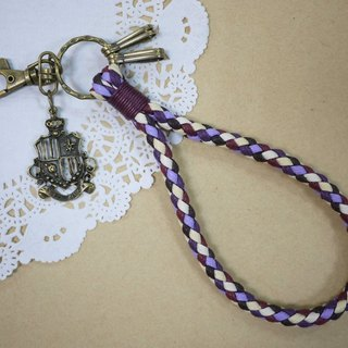 ~ M + Bear ~ vintage braided wire braided wax keychain key ring (four shares edge: Purple)