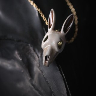 Rabbit Skull Charm Necklace - Painted Version by Defy / Painted Bunny Skull Charm Pendant Necklace Jewelry