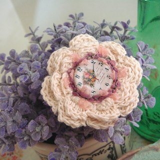 Garohands wool crocheted flower group Classical clock Violet Ribbon feel keel pin F024 Forest Department gift