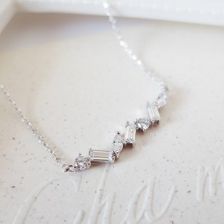 Cha mimi. Simply gorgeous. Square diamond round diamond row a short silver chain