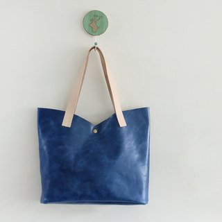 Blue Tulip Cowhide Shoulder Bag Elegant M Marine Blue Plant Tanned Leather Tie