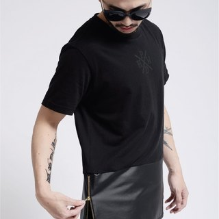 HWPD│ bilateral side zipper black leather T-Shirt (refer Kanye West / Yeezy / Justin Bieber)