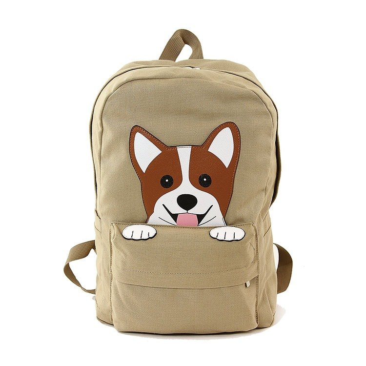 Sleepyville Critters - Corgi dog Canvas Backpack