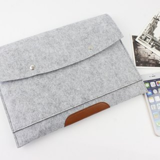 Original handmade light gray felt felt sleeve protective sleeve Apple laptop computer bag 13.3 MacBook Air 13-inch (can be tailored) - ZMY019LG13A