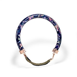 LUZID silk marbling blue collar necklace