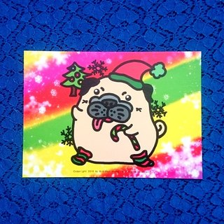 Postcard-Merry Christmas Pug-05