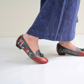 [Triangle Dance] embroidery handmade low-heeled Oxford shoes (personality red and blue hit color)