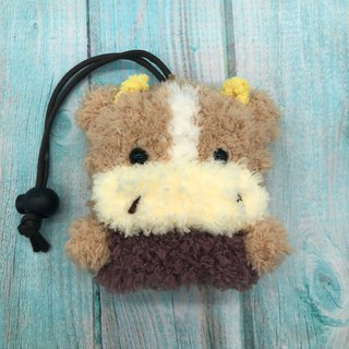 Marshmallow Animal Key Bag - Small Key Bag (Milk Tea Cattle)