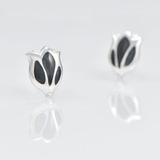 [Wonderland] Tulip 925 Silver Earrings - Black Dragonfly Grey