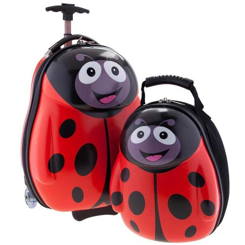 [British cuties and pals] 16-inch egg-shaped light monocoque exclusive suitcase +13 inch backpack child group (ladybug)