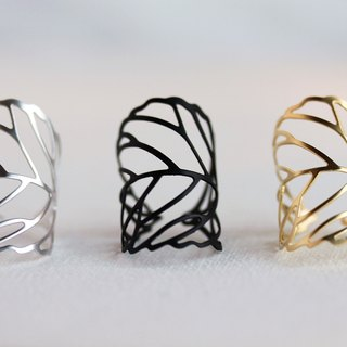 Delicate Leaf Ring - Gold,Silver,Black Leaf Ring,Adjustable, Leaf Ring