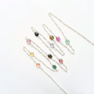 Multi-color Tourmaline Sterling Silver Long Necklace - Andromeda Galaxy