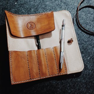 Fiber vegetable tanned leather hand-made hand-stitched brown retro reel Pencil