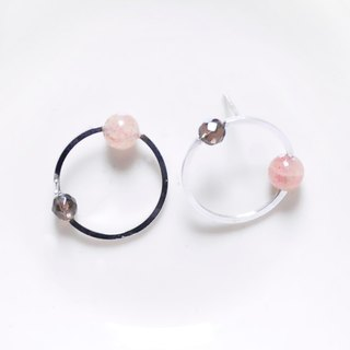 "∥Cheng Jewelry∥ Geometric accessories ""Dot line III"" Strawberry crystal, smoky quartz silver earrings"