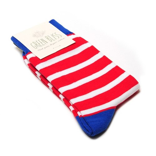 GREEN BLISS Organic Cotton Socks - [Striped Series] Cyclamen Blue Bone White Red Striped Stockings (Male / Female)