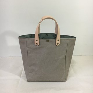 Simple Tote Bag, Gray Brown, Brown and Green Handle, 2.5cm Thick