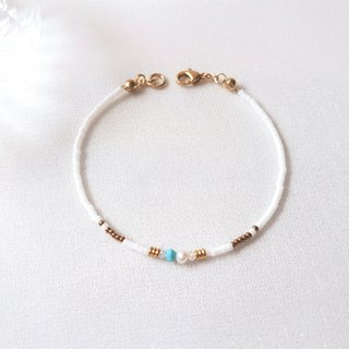 Lake Tekapo ‧ turquoise blue crystal pearl brass beaded bracelet