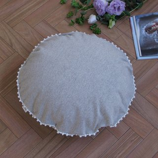 [Cover only] canvas chambray cushion cover pompon R