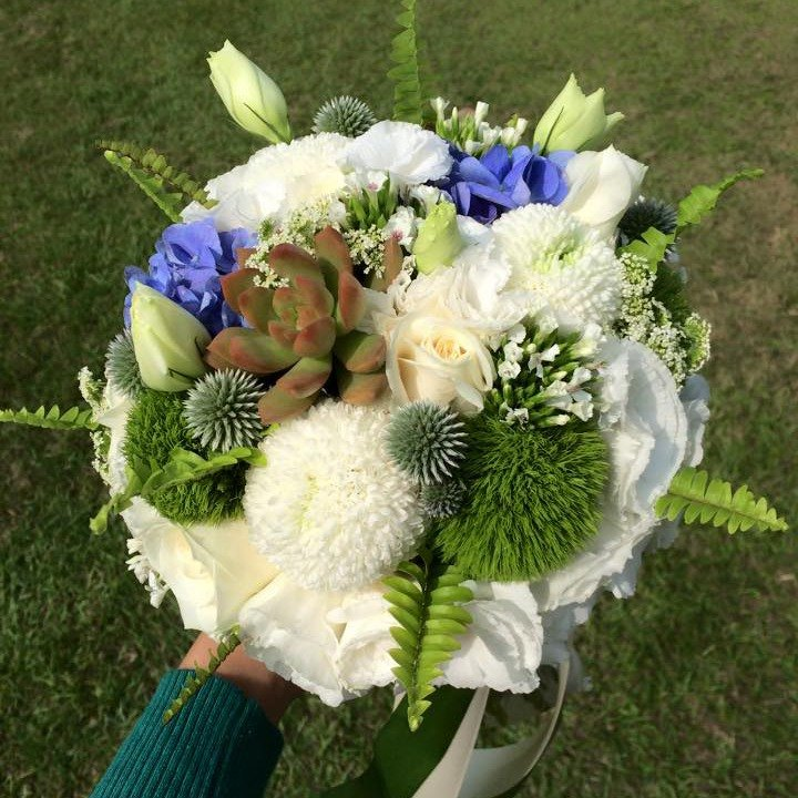 Blooming flowers - white green blue bridal bouquets custom wedding bouquets European flowers bouquets