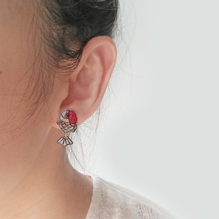 Fish Best friend series -  Red colour gold fish  - Earrings/ Ear clip