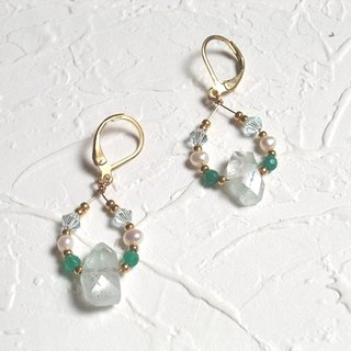 French small fresh green gem earrings