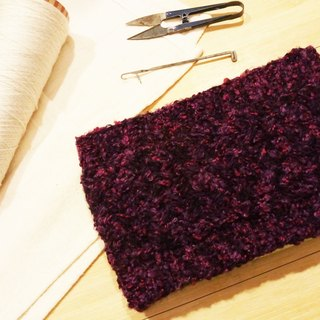 Lan hand-made knit headband (flower yarn grape purple)