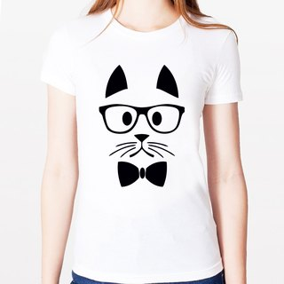Hipster Cat Girls T-shirt -2 color cat mustache beard retro art design funky glasses green paper animals