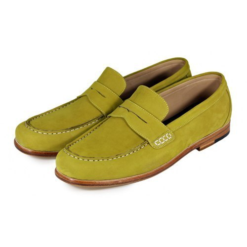 Sweet Villians M1108 手工真皮素面飾帶樂福鞋 芥末色
