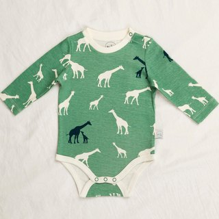 gujui love giraffe (green) - organic cotton long sleeve fart clothing
