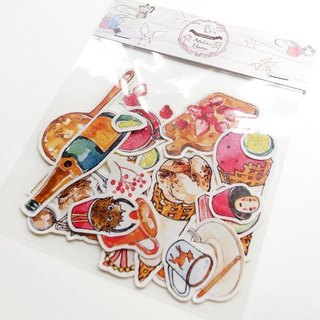 Atelier Hanu * * Small hand-painted sticker pack animal / Grocery / Sweets / coffee machine (a total of five)