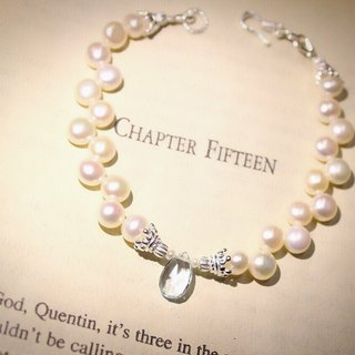 Journal pledge end of the year * Limited (aged snow ribbon - blue) sterling silver, natural pearls, topaz bracelet bracelet