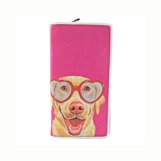 Ashley. M - Labrador Dog With Heart Sunglasses Bi Fold Zip Around Wallet