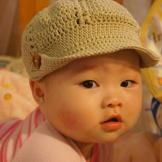 Organic cotton braided handsome and stylish baby boy reported bonnet (Japanese organic cotton knit) ~