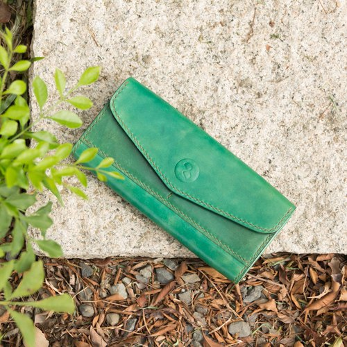 DUAL-elegant exclusive leather ladies long clip - hand dyed green (Mother's Day. Birthday. Free lettering)