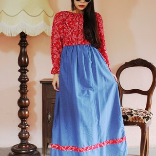 F1192 (Vintage) Red Amoeba Flower Stitching Blue Tanin Dress Cotton Long Sleeve Vintage Dress (Wedding / Picnic / Party)