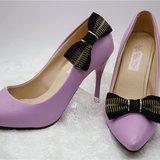 黑金bow tie style 型格蝴蝶結鞋飾,高跟鞋夾飾品