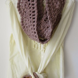 Lace toffee - pure wool hand-crocheted scarves circle + Tote
