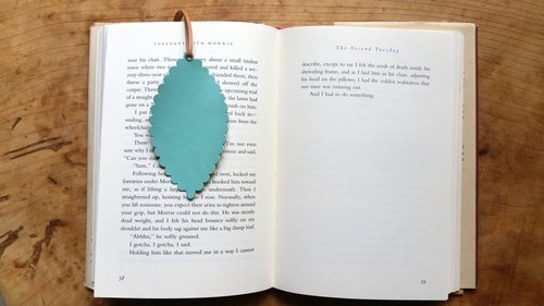 Leather leather - travelers bookmarks / strap / card (sheepskin Tiffany blue) - Free custom English name / phrase typing service