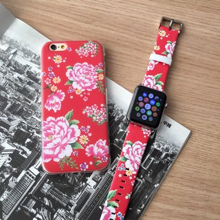 [Gift Packaging] Apple Watch Series 1 , Series 2 and Series 3 - Hong Kong Style Chinese Flower Red Patten Soft / Hard Case + Apple Watch Strap Band