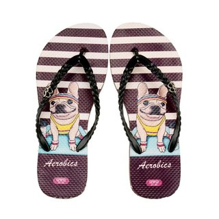 QWQ Creative Design Flip-Flops (No Drills)-Aerobics-Coffee [STN0371507]