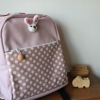 Pink backpack, canvas wool rabbit cute version children's backpack, travel bag, bell charm