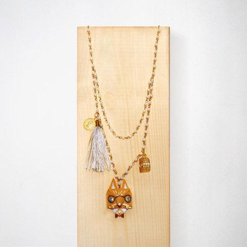 Mr.Fox necklace with embroidered details / Earth yellow