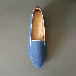 WL Denimローヒール(淺の藍) Heeled Loafers