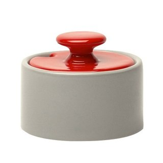 Jansen + co color sugar bowl - gray + red