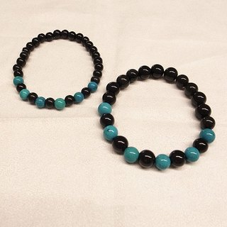 ☽ Qi Xi hand for ☽ [07220-6m] obsidian blue with turquoise series