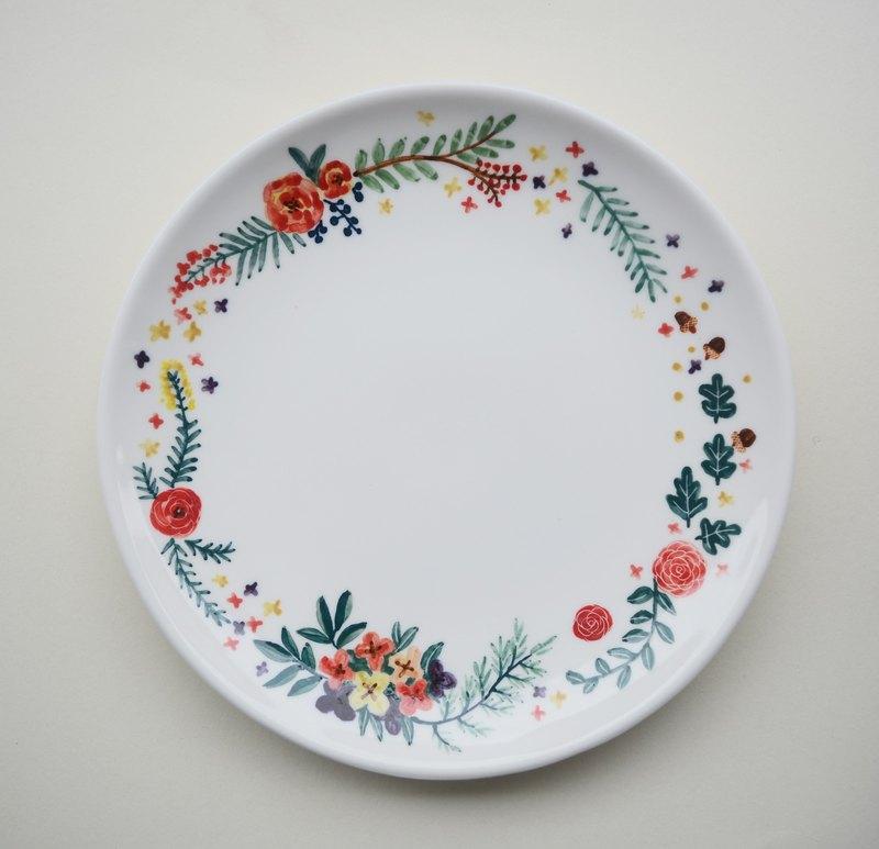 手繪7吋蛋糕盤 玫瑰花園與橡實
