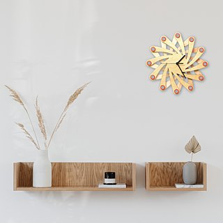 Galaxy - contemporary stylish wall clock made of bent plywood, wooden wall clock