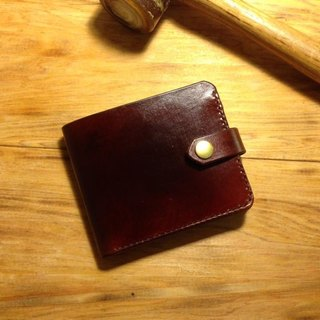 Golden Forest handmade leather original leather classic brown short clip cowhide leather wallet brown short clip gift Pinkoi