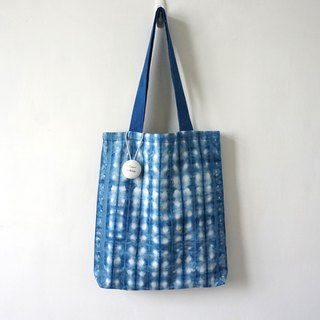 S.A x Checker, Indigo dyed Handmade Checks Pattern Tote Bag